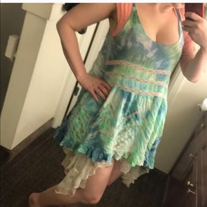 Free People customDye voile and lace trapeze dress
